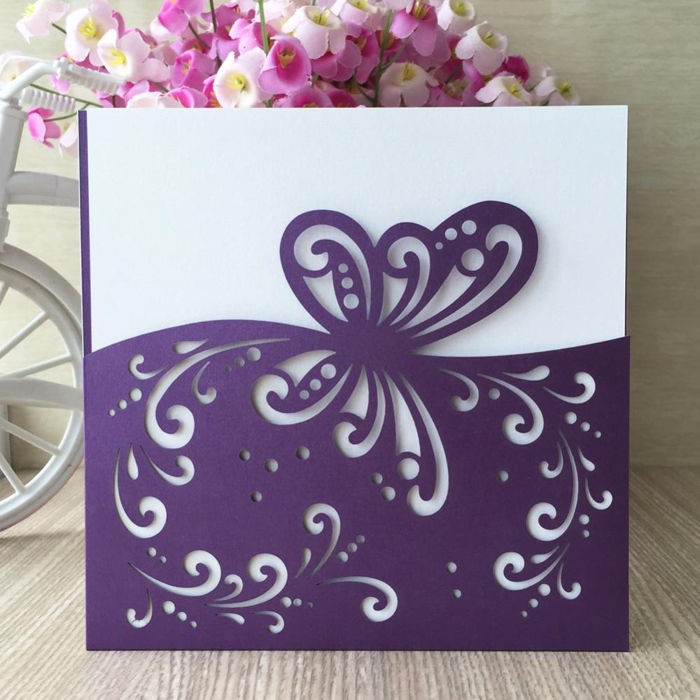 50pcs/lot Laser Cut Dark Purple Butterfly Wedding Invitations Card ...