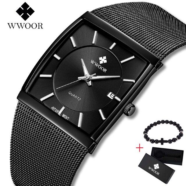 2019 Marca Top WWOOR Data de Luxo Mens Relógios de Quartzo Quadrado Masculino Malha de Aço Inoxidável Preto de Negócios Sports Men Watch Free presente