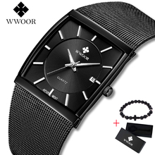 2019 Top Brand WWOOR Luxury Mens Square Quartz Watches Male Date Black Stainless Steel Mesh Business Sports Men Watch Free gift wwoor brand luxury gold men leisure quartz watch men business date clock male stainless steel sports watches relogio masculino