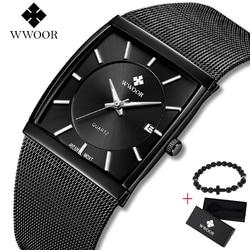 2019 Top marka WWOOR luksusowe męskie kwadratowe zegarki kwarcowe męskie data czarna siatka ze stali nierdzewnej biznes męski zegarek sportowy bezpłatny prezent