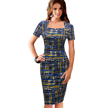 FEIBUSHI Elegant Women Summer Charming Print Square Neck Plaid Dress Work Business Casual Bodycon Pencil Sheath Dress