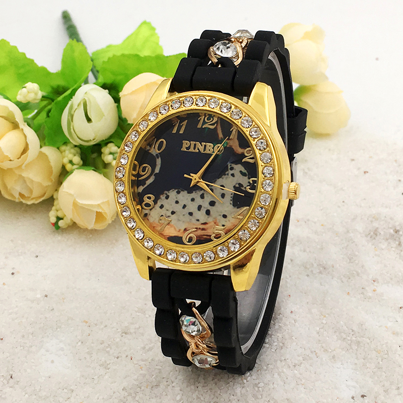 New Fashion PINBO Famous Brand Casual Quartz Watch Women Crystal Leopard Silicone Watches Relogio Feminino Dress Wrist Watch Hot rigardu fashion female wrist watch lovers gift leather band alloy case wristwatch women lady quartz watch relogio feminino 25
