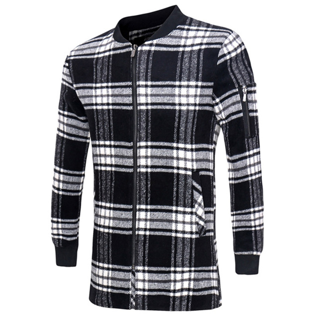2016 Nueva Moda Negro Blanco Plaid Abrigo Largo Abrigo de Lana Hombres Delgados Otoño Delgada Chaqueta de Lana Peinada Ocasional Simple 13M0548