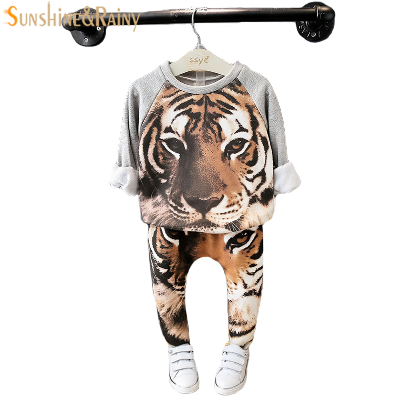 Autumn Winter Velvet Baby Girl Clothes Sets Cartoon Animal Kids Boys Sport Suit For Girl Tops + Pants Children Clothing Set 2-7T