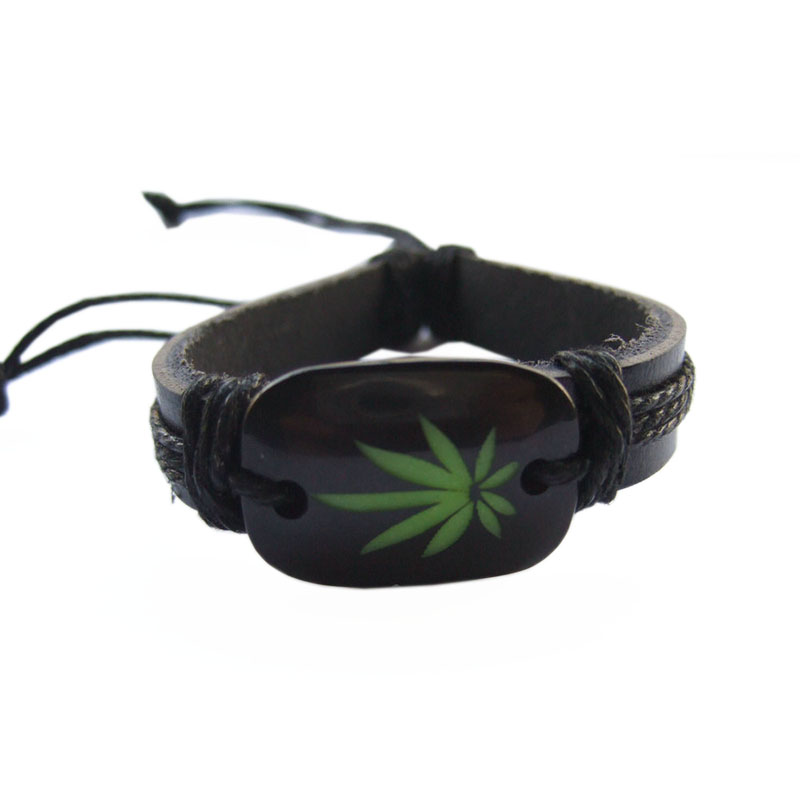 1PCS Black Leather Green hemp Weed Leaf Charm Wristband Bracelets & Bangles For Women