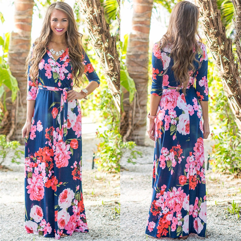 Women Floral Print Maxi <font><b>Dress</b></font> V-neck Boho Style Long Beach <font><b>Dress</b></font> Evening Party Long Bandage Bodycon <font><b>Dress</b></font> Plus Size Vestidos image