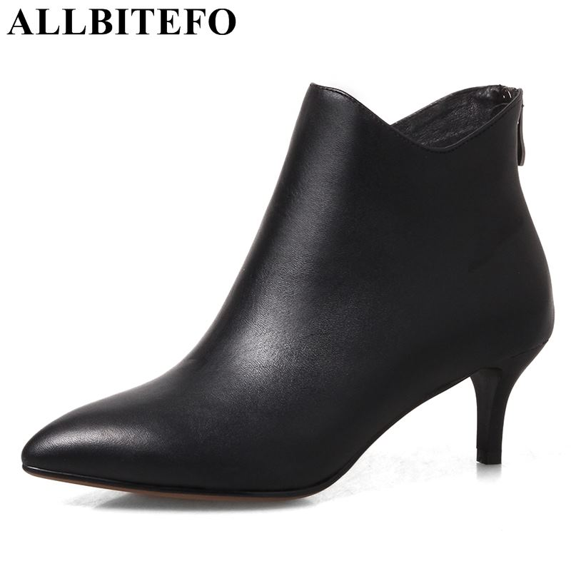 ALLBITEFO 2 kinds of heel genuine leather thick heel snow boots high heels ankle boots girls shoes sapatos femininos size:33-43