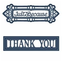 Just Because Thank You Metal Cutting Dies Stencil For DIY Scrapbooking Decorative Embossing Suit Paper Card Die Template