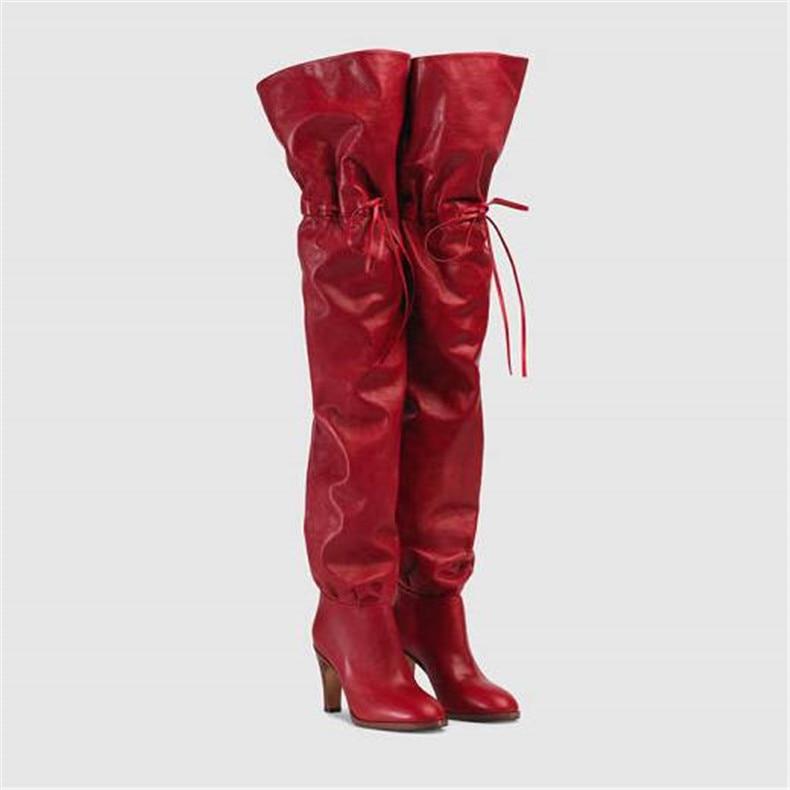 Automne hiver date Slim Fit rouge en cuir cuisse bottes sangle longue pointe haut talon Designer en peluche Botines chaussures femme 2018