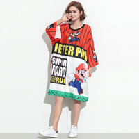 2018 Summer Harajuku Women Printed Super Mario Fashion Top Tees Plus Size Designer Cartoon Loose Long T Shirt Novelty Clothing