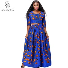 Shenbolen African Clothes for Women New Fashion Set Shirt + skirt 2 pieces Ankara Cotton Wax Fabric Traditional
