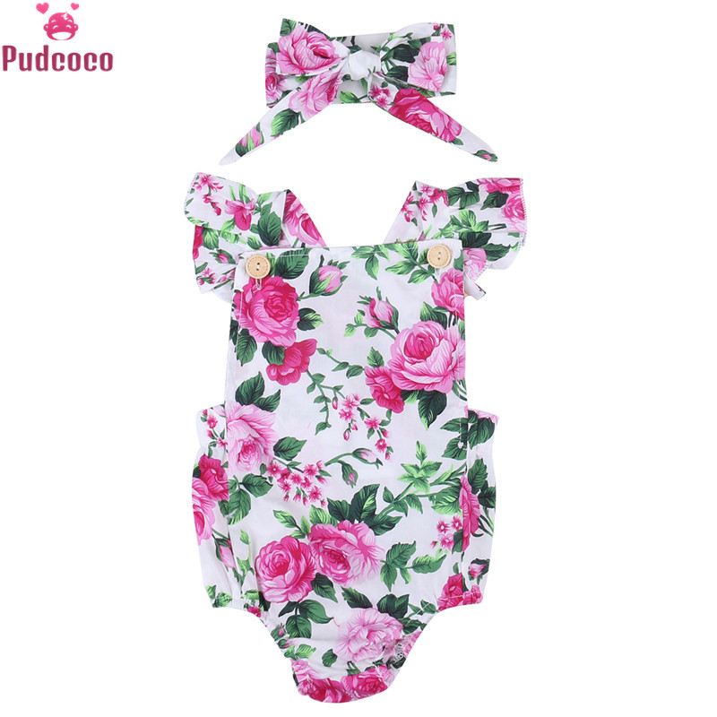 Cute 0-18M Printing Floral Rompers Baby Girl Clothes Spaghetti Straps Halter Romper With Headband Jumpsuit Sunsuit Outfits Set