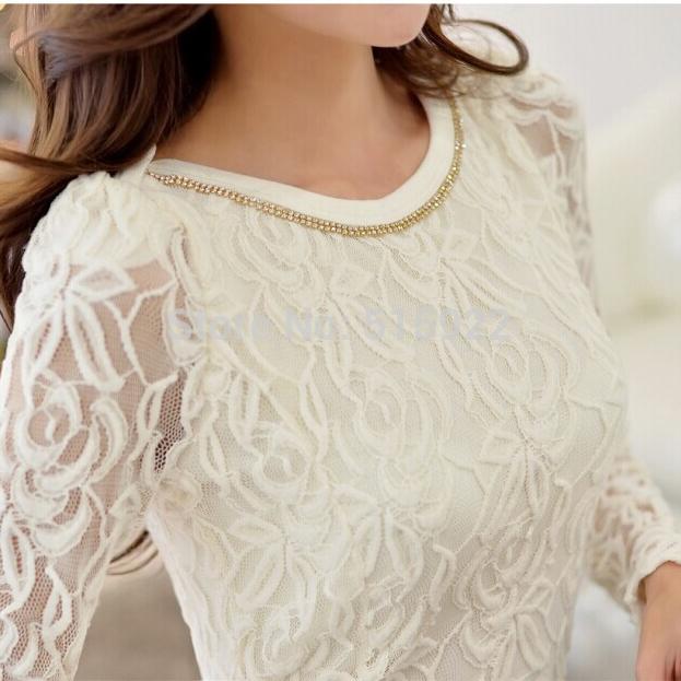 Crochet Black And White Body Lace Chiffon Blouse