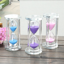 15/30/60 minutes cylindrical crystal hourglass, mini timer glass crafts, Valentine's Day creative gifts 60 minutes wooden base timing hourglass creative glass crafts home decoration