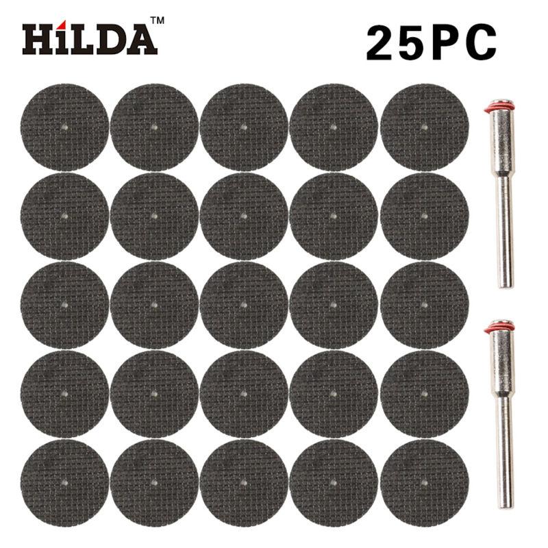 HILDA 25pcs Fiberglass Reinforced Cut Off Wheel Disc w/ 2 Mandrel 1/8 Fit for Dremel Tool rotary tool dremel style