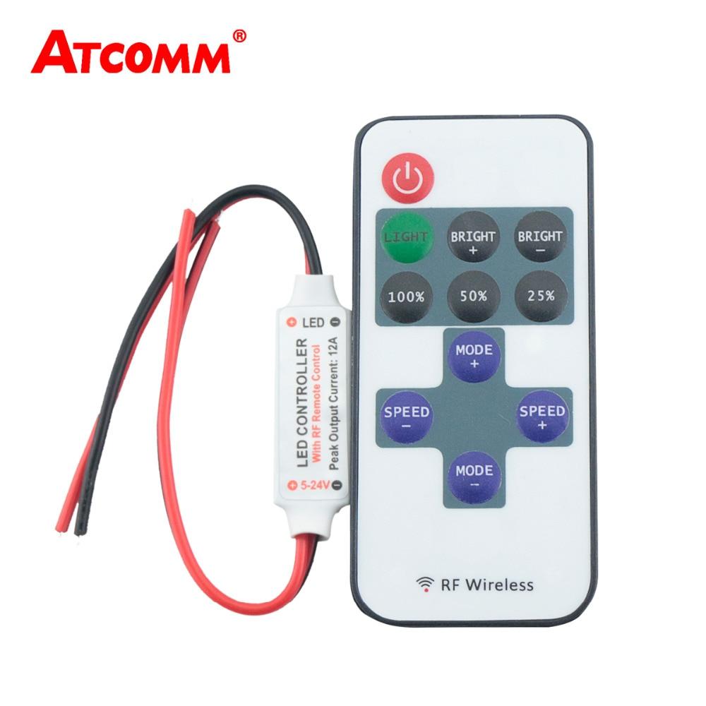 10 Keys RF Wireless Single Color Led Strip Dimmer DC 12V 10Keys Remote Controller For SMD 5050 2835 3014 5630 LED Strip Light(China)