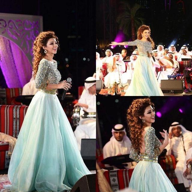 7a8a60fee Mint Green Myriam Fares Celebrity Dress Long Sleeves Arabic Prom ...