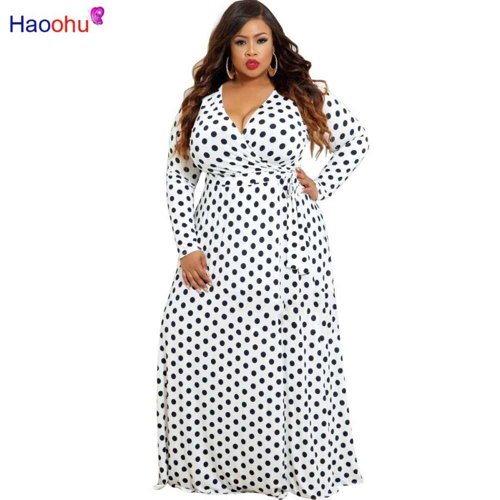HAOOHU Plus size Long Dress Dot Print Boho Beach Dress Tunic Maxi Dress  Women Evening Party 86af1ca5a8e6
