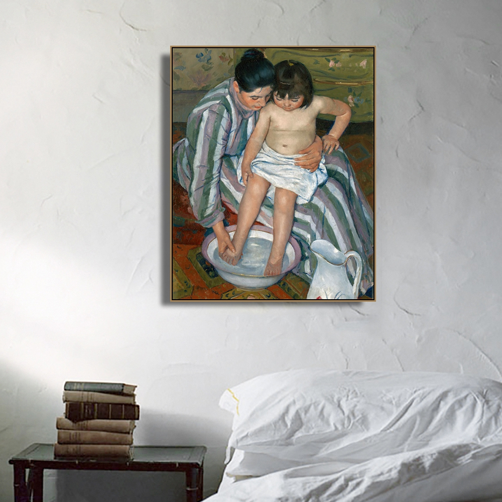 Bathing by Mary Cassatt Famous Wall Art Poster Print Canvas Painting Calligraphy Decorative Picture for Living Room Home Decor