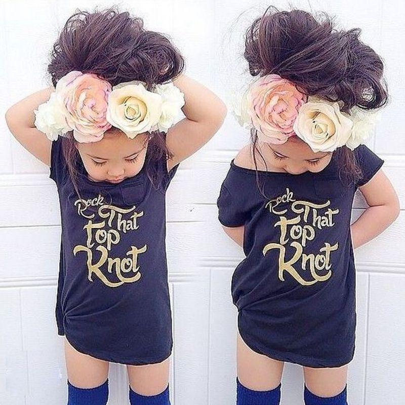 2018 Zomer Kids Baby Meisjes Goud Brief Tee Peuter Meisje Katoen Korte Mouw T-shirt Tops Kleding 2-7y Koop Altijd Goed