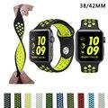 Бренд Кремния Спорт Ремешок Ремешок для Apple Watch Nike 38/42 мм 1:1 Оригинальный Черный/Вольт Черный/Серый серебро iwatch ремешки FOHUAS