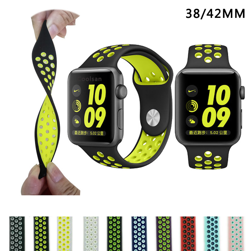 Brand Silicon Sports Band Strap for Apple Watch Nike 38/42mm 1:1 Original Black/Volt Black/Gray Silver iwatch watchbands FOHUAS