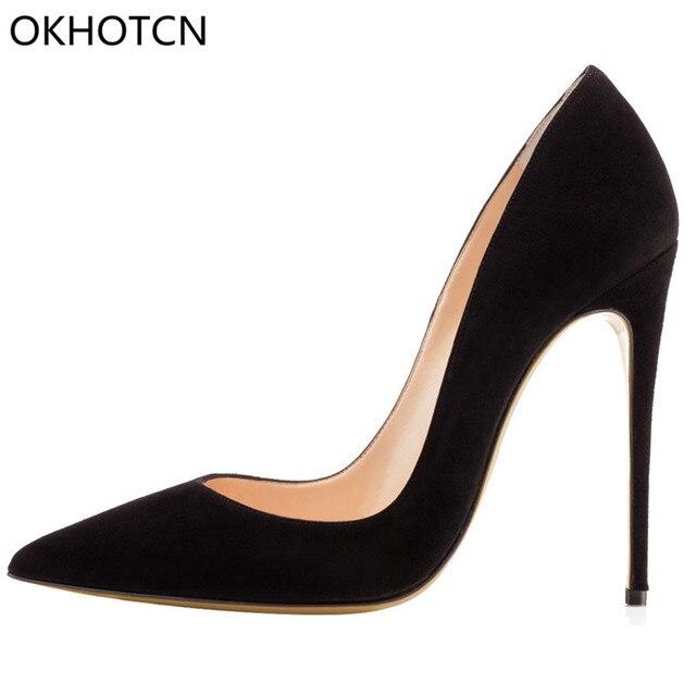 OKHOTCN Brand Designer Sexy Black Pumps Pointed Toe Flock High Heels  Slip-on Shallow Daily Dress Pumps Women Shoes Drop Shipping a4a2096e291e