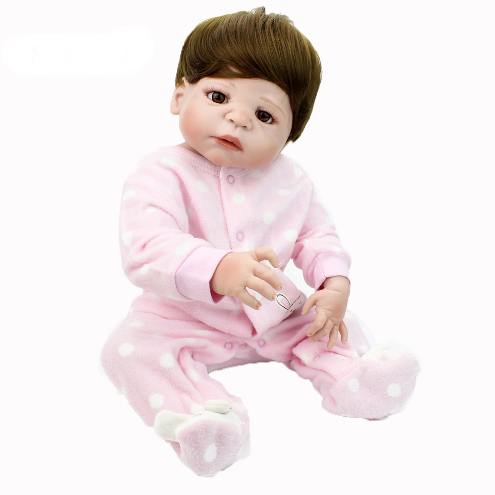 55cm Soft Silicone Reborn Dolls Lifelike girl Dolls 22inch Full Vinyl Reborn Dolls For Sale children bebe gift reborn bonecas
