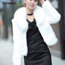 Элегантное пальто из искусственного меха, утолщенная теплая верхняя одежда, женская зимняя новая Меховая куртка, пальто с длинным рукавом, белое, черное, плюс размер, шуба 3XL