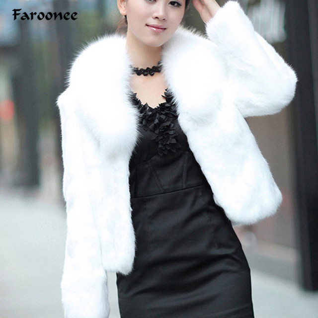a2581172147 Faroonee Stylish Faux Fur Coat Thicken Warm Outwear Women Winter New Fur  Jacket Coat Long Sleeve White Black Plus Size 3XL Q1600