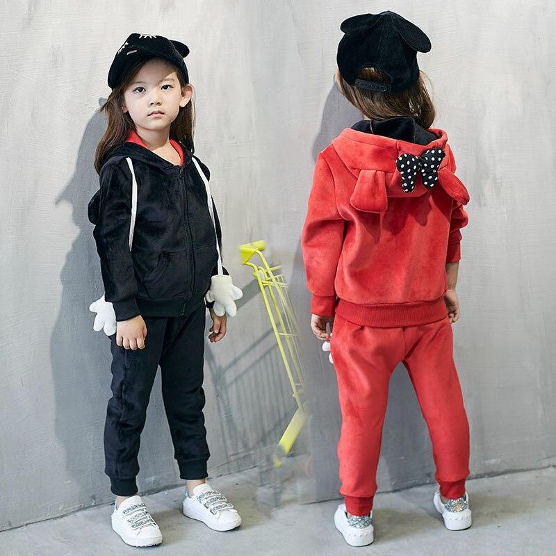 South Korea s 2016 cartoon winter new Korean Girls Hooded Jacket pants two piece suit
