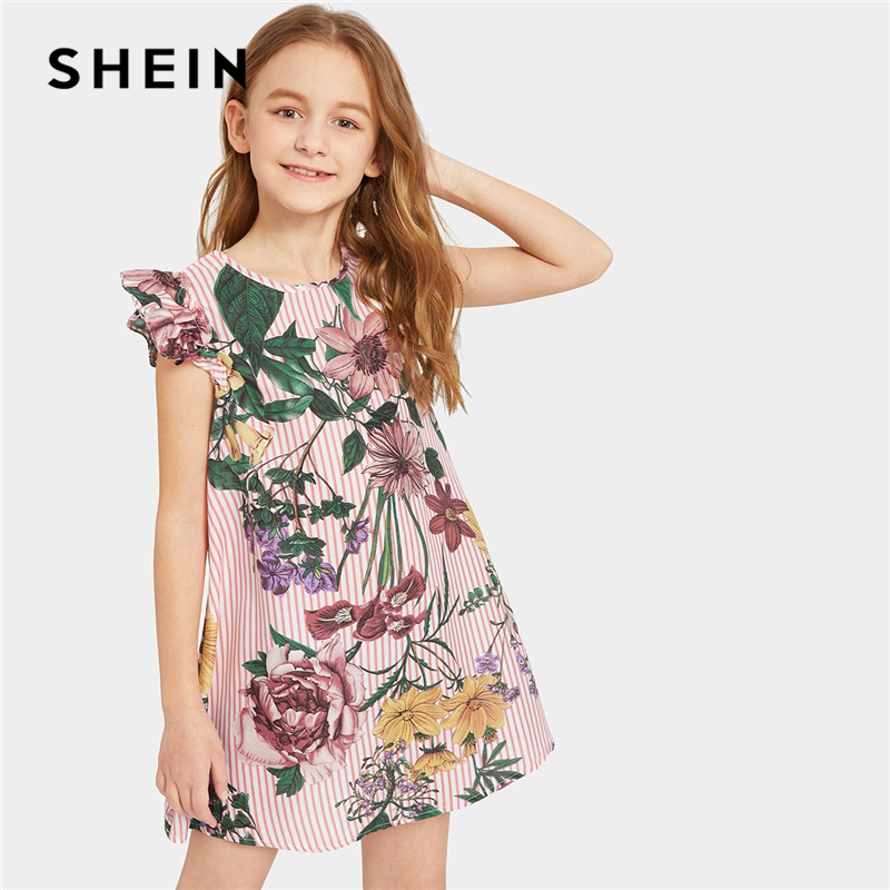 SHEIN Kiddie Ruffle Cap Sleeve Floral Stripe Boho Girl Short Dress 2019 Summer Shift Holiday Kids Dresses For Girls Clothing stripe plaid draped knitted cap