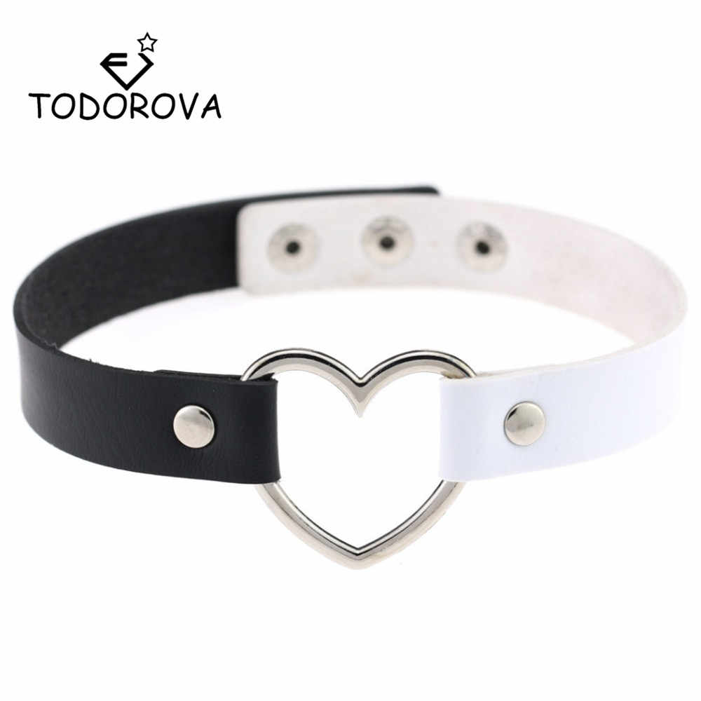 Todorova Faux Leather Choker Necklace Women Goth Heart Chocker Gothic Statement Necklace Punk Jewelry Collier femme