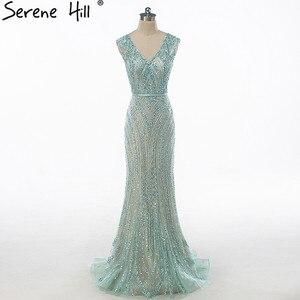 Image 1 - Luxus V ausschnitt Meerjungfrau Tüll Abendkleid Perlen Harte arbeit Lange Abendkleider 2020 Ruhigen Hill LA6049