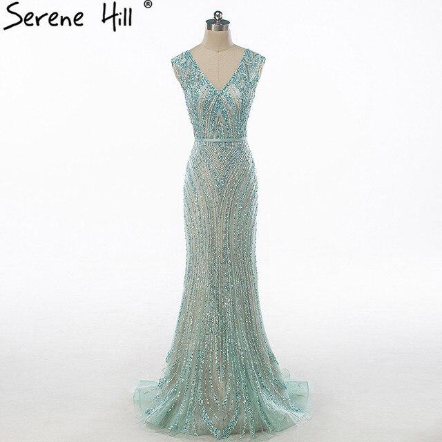 Luxus V ausschnitt Meerjungfrau Tüll Abendkleid Perlen Harte arbeit Lange Abendkleider 2020 Ruhigen Hill LA6049
