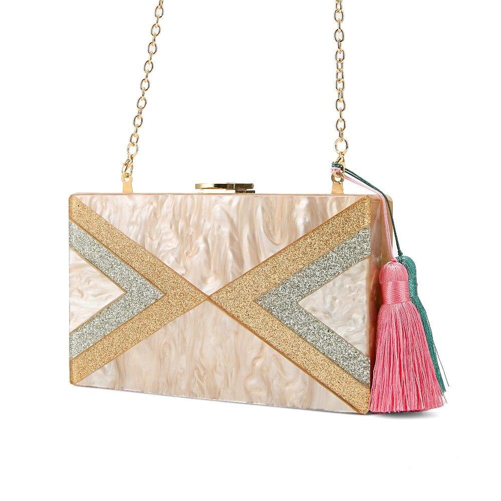 Nude Silver Gold Glitter Striped Geometric Tassel Acrylic Evening Bag Travel Messenger Shoulder Acrylic Clutch Box Purse Bags Купальник