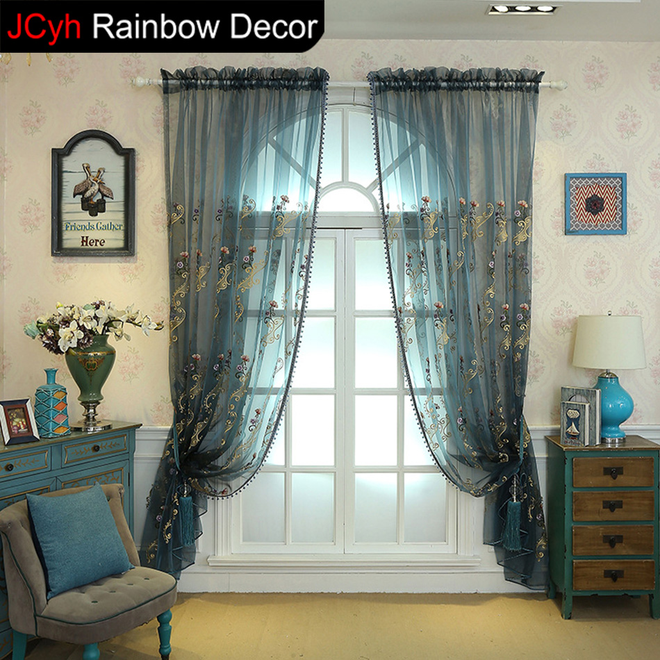 Korean Tulle Curtains Window Blinds Embroidered Voile Sheer Kitchen Fabric Drapes Door Living Room