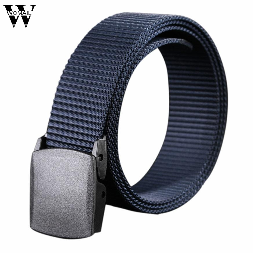 Wild Men Canvas Belt Hypoallergenic Metal free Plastic Automatic Buckle Belt for Male Waistband Se19