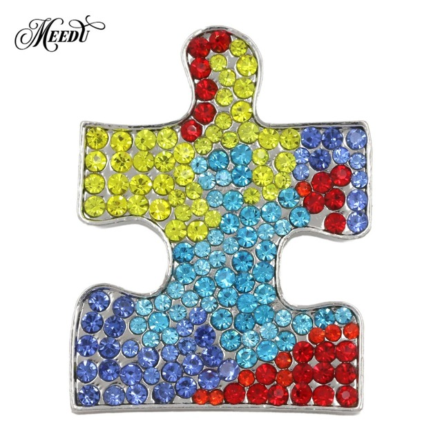 621746ab431 US $1.92 |New Design Autism Awareness Heart Hope Walking Angel Jigsaw  Puzzle Ribbon Full Crystal Lapel Pins Clothing Accessories-in Brooches from  ...