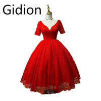 New Arrival Red Lace Ball Gown Wedding Dress Half Sleeve Real Picture Deep V Neck Sexy