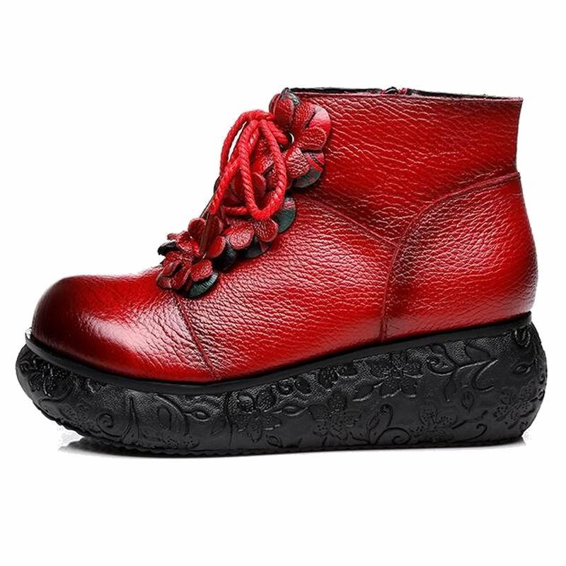 Mujer A Negro Gktinoo Para rojo Cuña Botas Hecho Zapatos Retro Plataforma De Genuino Cuero Mano ZWttgrT