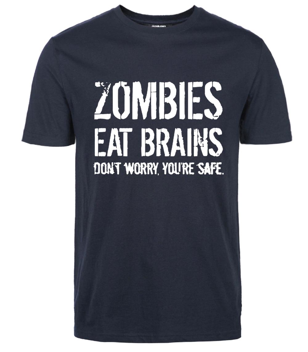 Funny Zombies Eat Brains t shirts cotton streetwear mma brand font b clothing b font short