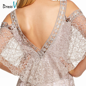 Image 5 - Dressv rosa eine linie lange abendkleid backless günstige straps halbarm hochzeit formale kleid spitze abendkleider