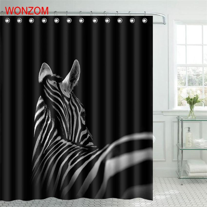 WONZOM Animal Zebra Shower Bathroom Waterproof Accessories Curtains For Decor Modern 3D Polyester Bath Curtain with 12 Hooks