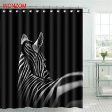 WONZOM Animal Zebra Shower Bathroom Waterproof Accessories Curtains For Decor Modern 3D Polyester Bath Curtain with 12 Hooks