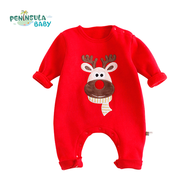 Baby Rompers Winter Thick Warm Clothes Newborn Boys Girls Clothes Long Sleeve Jumpsuits Christmas Deer Costume Outwear 2017 baby boys girls long sleeve winter rompers thicken warm baby winter clothes roupa infantil boys girls outfits cc456 cgr1