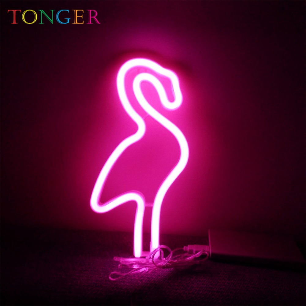 Tonger Pink Led Neon Lamp Decoration Lights Flexible Flamingo Neon