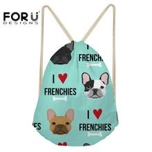 ФОТО forudesigns casual men small backpack french bulldog printed tumblr travel daily drawstring bags for kids boys mochila bolsa
