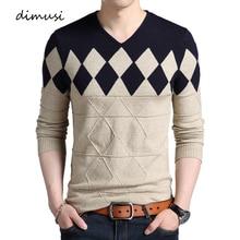 DIMUSI, осенне-зимний мужской пуловер, свитер, Мужская водолазка, Повседневный свитер с v-образным вырезом, мужские облегающие вязанные пуловеры, одежда 3XL