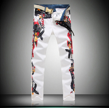 Wholesale-Summer style Skinny jeans mens famous brand printed denim trousers fashion hip hop zipper Men pants cotton white Men j